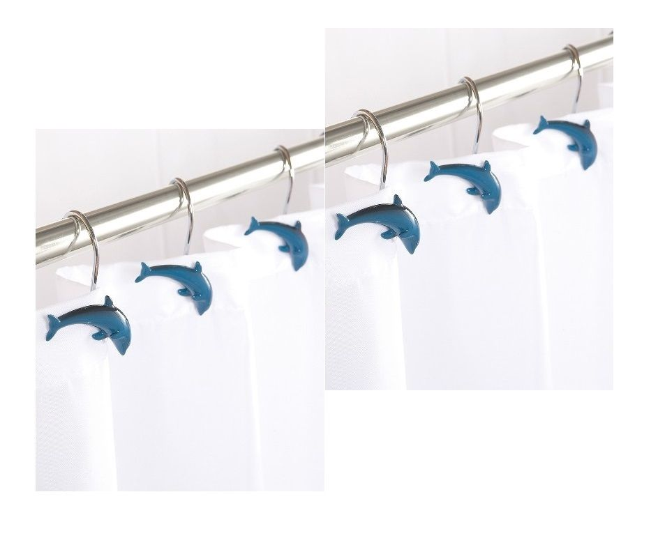 12 x dolphin marsouin forme de poisson rideau douche crochets bain rail en bleu ebay. Black Bedroom Furniture Sets. Home Design Ideas