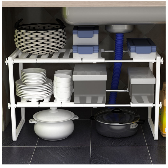 Adjustable Kitchen Bathroom Under Sink Rack Shelf Unit