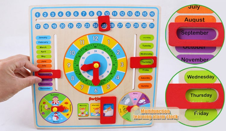 Kids Weather Calendar : Early educational en bois calendrier jouet horloge date