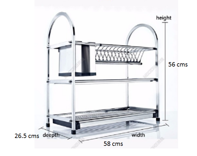 3 Tier Layers Stainless Steel Dish Plate Crockery Rack