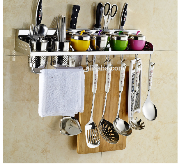 Stainless Steel Wall Mount Rack Rail Kitchen Utensil Hook
