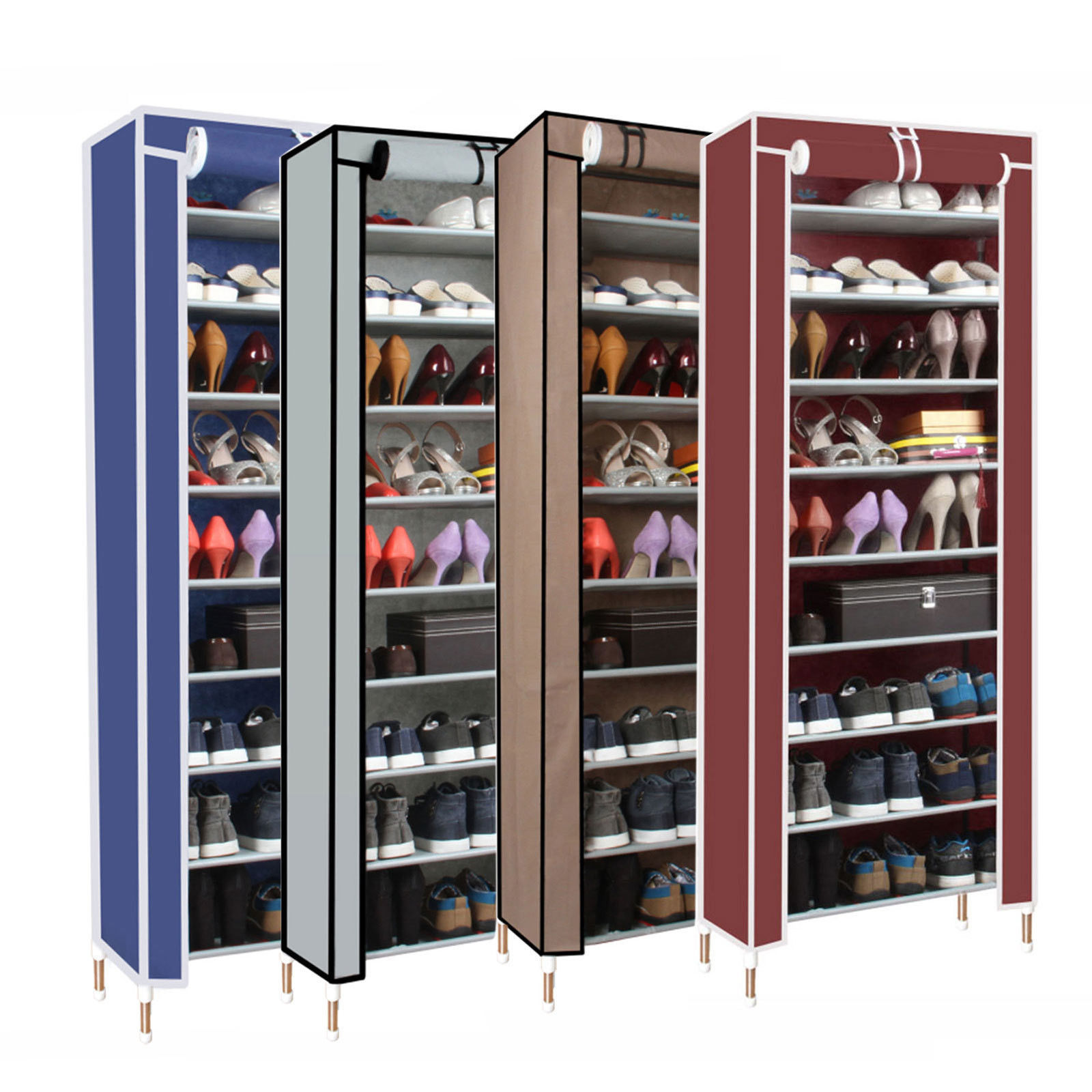 dust proof 10 tier shoes cabinet storage organizer shoe rack stand