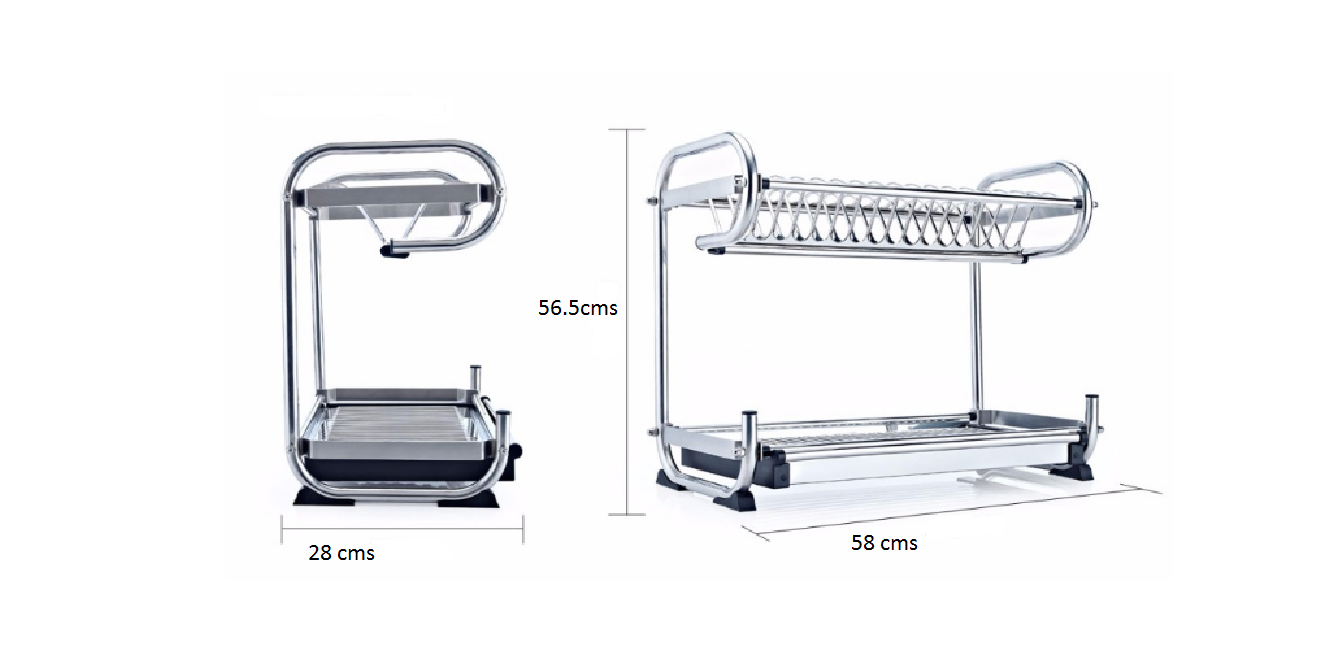 2 Tier Stainless Steel Dish Plate Cutlery Rack Kitchen