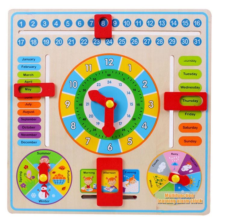 Calendar Chart For Kids : New educational wooden calendar toy clock date weather